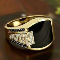 2021 Retro men ring Black Zircon Ringrings for women punk Hip Hop Fashion Silver Jewelry