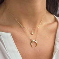 Pendant Necklaces Fashion Star Moon Double Layer Necklace Charming Women's Wedding Gold Choker Accessories Elegant Girl Jewelry Gift
