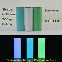 local warehouse 20oz sublimation straight glow in the dark Tumblers Magic Luminescent Drinking Cup leakproof us stock