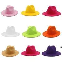 Chapeau de fedora chapeau large de laine chapeau de couleurs de laine couleur massif de soie chapeaux femmes vintage casquette automne hiver style mer expédition HWB7534