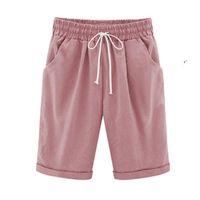 Pantaloncini da donna Donne di grandi dimensioni Donne a cinque punti 2021 Estate Elastic Waist Rights Broek Plus Size Sportswear Abiti corti casuali