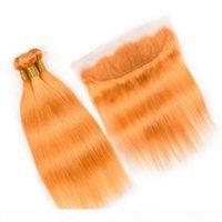 Couleur orange droite Coleurs péruviennes 3bundles avec frontal 4pcs Lot Pure Orange Human Hair Weave Wefts avec une fermeture frontale en dentelle 13x4