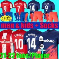 플레이어 팬 버전 21 22 Atletico 축구 유니폼 Madrid João Félix Camiseta 2021 M. Llorente Koke Saul Suarez 축구 셔츠 2022 Lemar 남자 키트 세트 유니폼