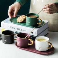 European Luxurious Gold Rim Ceramics Coffee Cups And Saucers Spoon Sets With Gift Box Tea Soy Milk Breakfast Mugs Dessert Plate &