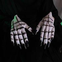 Cosmask Halloween Ghost Claw Skull Black Nail Masquerade Supplies Party Dress Up Horror Kvinna Vit Handskar