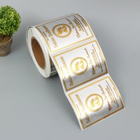 Customized Rectangle Red Wine Packing Labels Custom Customer's Logo Waterproof Beer Packaging Stickers with Gold Foil
