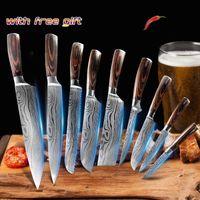 Knife Set Professional Chef Kitchen Knives Color Wood Handle Laser Damascus Pattern Steel Knife Set Multifunctional Cooking Tool