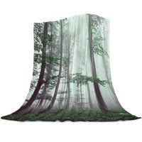 Blankets Autumn Woods Mysterious Fog Printed Flannel For Sofa Beds Bedding Room Soft Fleece Blanket Bedspread Home Textile Decor
