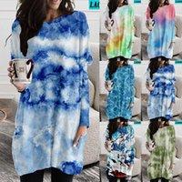 Casual Dresses Tie Dye Dress Long Sleeve Women's Print O-Neck Loose Boho Beach Plus Size Falda De Las Señoras