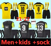 Dortmund futebol jersey borussia 21 22 quarto quarto 4th 2021 2022 camisa de futebol haaland reus neongelb bellingham sancho hummels brandt adultos e crianças