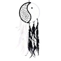 Decorative Objects & Figurines Handmade Yin Yang Dream Catcher Circular Net With Feathers Beads For Wall Car Hanging Decoration Ornament Cra