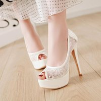Dress Shoes Summer Mesh Peep Toe Sandals Sexy Super High Heels 13 Cm Pumps Women Europe And America Lace Fish Mouth Gauze Mujer
