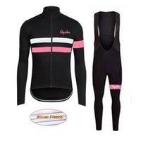 Pro Takım Rapha Bisiklet Forması Set Kış Termal Polar Uzun Kollu Gömlek Önlüğü Pantolon Kitleri Bisiklet MTB Giysi Bisiklet Maillot Ropa Ciclismo L07