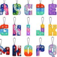 Sensory Fidget Toys Bubble Poppers Key Bague Alphabet 26 Lettres Shape Push Bulles Popper Board Keychain Puzzle Puzzle Charm Cravate Teinture Sac à arc-en-ciel Accrocher G60FD7J