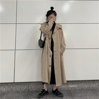 Women's Trench Coats HziriP Early Autumn Khaki Solid All-Match Elegant Chic Office Lady Windbreaker Gentle Simple High Quality Long Coat