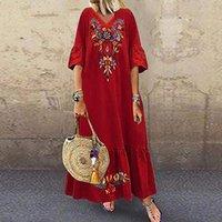 Ethnic Clothing 2021 Summer Women Plus Size 5xl Sexy V-neck Long Maxi Dress Elegant Print Linen Boho Vestidos Robe White Female Loose Dresse