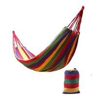 Tragbare Outdoor Garten Hängematte Hang Bett Reise Camping Swing Wandern Leinwand Streifen Hängematte Hängen Bett EWE6623