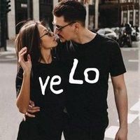 Women's T-Shirt Women Men Couple Summer Short Sleeve Sweetheart Valentine's Clothes Casual LOVE Printed Lovers Tee Shirt