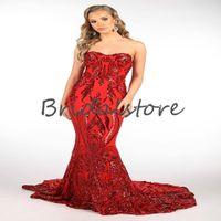 화려한 빨간색 조각 댄스 파티 드레스 반짝이 인어 플러스 사이즈 고급 가운 블링 럭셔리 긴 그라디언 파티 착용 아프리카 roves 드 Soirée Longue Vestidos Formales