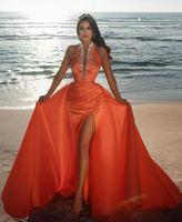 Sexy orange Prom Kleider Keyhole Neck Mermaid Perlen Kristalle Hohe Split Afrikanische Sweep Zug Abendkleider Naher Osten plus Größe Vestidos de Festa