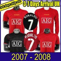 호나우두 루니 SAHA 레트로 맨체스터 2007 2008 축구 셔츠 07 08 빈티지 축구 유니폼 클래식 Nani Man Utd Camiseta 긴 소매
