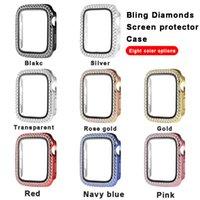 Bling Diamond Relógios Capa de Relógios de Apple 38mm 42mm 40mm 44mm banda de vidro temperado protetor protetor de tela IWatch série 1 2 3 4 5 6