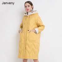 Janveny Down Jacket Women Winter 2021 New Long Feather Parkas For Female Hooded 90% White Duck Down Coat Loose Snow Outwear