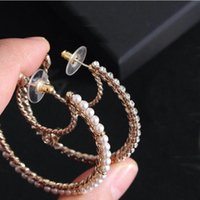 Luxury Brand Have Stamps Moon Pearl Hoop Earrings Eardrop Aretes For Lady Women Party Wedding Marry Jewelry Engagement Lovers Gift With Box