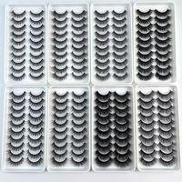 10 Paare 3D Faux Mink Wimpern 100% handgemachtes natürliches dickes langes falsches Wimpern dramatischer Fake-Wimpern-Make-up 10stil