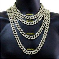 2021 12 мм Miami Cuban Link Цепочка ожерелье Браслеты набор для мужской Bling Hip Hopced Out Auth Almond Gold Silver Rapper Chrips Женщины Роскошные Ювелирные Изделия