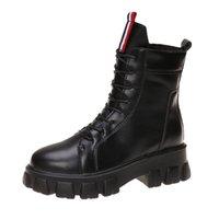 Winter Short boots Women Designer Socks boots Block Round Toe low Heel Lady shoestring lace-up WARORWAR Brand YN13-502