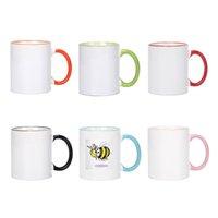 320ml 승화 빈 세라믹 머그잔 열 전달 MDF 핸들 머그잔 개성 DIY 간단한 커피 컵 7 색 선물 용품