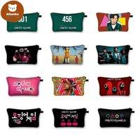 Korea Squid Game Print Cosmetic Bags Make Up Storage Organizer Travel Pouch Makeup Bag Purses Toiletry Bag Women Handbag cvd