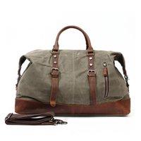 Duffel Bags Maheu Army Army Green Холст Кожаная сумка для путешествий Мужчины Женщины Прочный Ткань Dufle Уик-Денды За Ночь Для Бизнеса Путешествия
