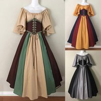 Платья партии мода платье винтажное платье косплей вечерняя ночь официально длинные дамы средневековый ретро стиль стиль талии