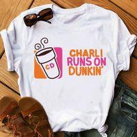 Vogue Clothes Charli Damelio Ice Womens T Shirts V Neck Coffee Graphic Print Camisetas Mujer Harajuku Shirt Hip Hop