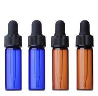 작은 맑은 앰버 블루 유리 4ml 바이알 E- 액체 Dropper 병 미니 향수 에센셜 오일 병 1200pcs SN5461