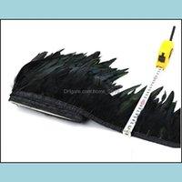 Services de vente au détail Office School Industrial10 Yards Haute Qualité Noir Naturel Coq Coq Groupes de plume Largeur 6-8 Pouces Poulet Feathe
