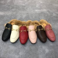 Designer Men Women Princetown Slippers Autumn Winter Designers Wool Loafer Classic Metal Buckle Embroidery Lazy Slides Luxury Bee Snake Pattern Shoes Box