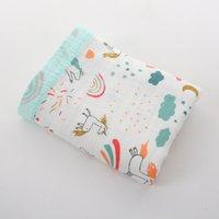 مطبوعة حمام منشفة الرضع Swaddling القماش بطانية بطانية أربعة طبقات من الخيزران الألياف المجمع الكرتون الوليد عربة يغطي 110 * 120 سنتيمتر GWC7388