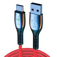 Handy-Ladegerät Kabel Typ-C-Kabel 5A Fast Ladet Micro USB-Zinklegierung Metalldatenkabel Geflochtene Draht mit LED-Atemlampe