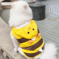 디자이너 애완 동물 강아지 의류 레이디 여름 여름 Springwaterproof 노란색 꿀벌 Poncho 만화 비옷 중간 작은 개에 대 한 두 다리 착용 고양이 xssmlxlxxl