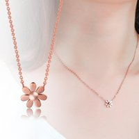 Pendant Necklaces YUN RUO Rose Gold Color Elegant Daisy Necklace Titanium Steel Jewelry Woman Christmas Gift Never Fade Drop