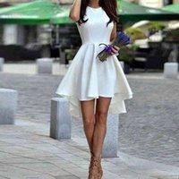 Weiß kurze Heimkehrkleider für Mädchen High Low Satin A-Line Princess Sleeveless Satin Rüschen Kurze Junioren Abschlusskleid
