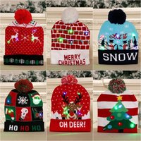 Creative Colorful Led Light Rave Toy Christmas Gift Hat Cartoon Pattern Knitted-Hat For Children Adult Xmas Festival Party New Year Decoration gifts