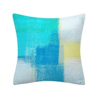 Moda azul lance travesseiro capa decorativa coxim cobertura cinza arte abstrata pintura pillowcase para sofá quarto quarto decoração 45x45cm
