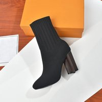 Designer autumn winter socks heeled heel boots sexy Knitted elastic boot Alphabetic women shoes lady Letter Thick high heels
