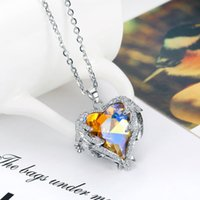 High Qualitly Thanks Mother Day Necklace Diamond Heart-shaped Angel of Grace Heart Pendant with silver base and rhinestone tricolor Wholesale