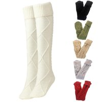 Socks & Hosiery 28TF Women Cable Knit Diamond Pattern Boot Thigh High Solid Color Turn Cuff Over Knee Extra Long Stockings
