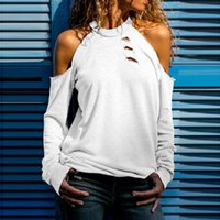 Shirt Women's T-Shirt Long Sleeve Polyester Out Casual Holes Spring Women Tops Round Neck Fashion Streetwear T Summer Sexy Solid
